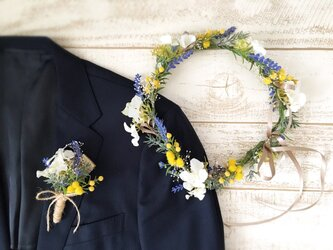 ラベンダーとミモザの花冠&ブートニア2点セットの画像