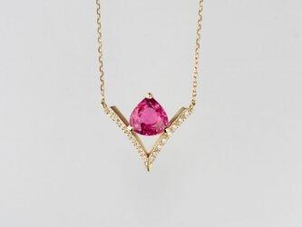 ピンクスピネルダイヤネックレスの画像