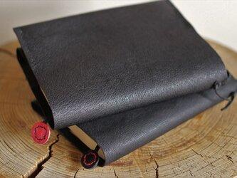 ナチュラルレザーのブックカバー 黒の画像