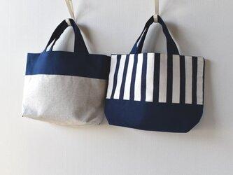 ネイビーしましま&帆布のリバーシブルミニトートバッグの画像
