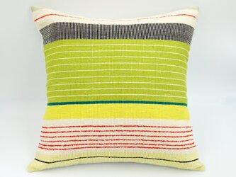 シルク糸の手織り・クッションカバー/45×45(マルチイエロー)の画像