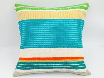 シルク糸の手織り・クッションカバー/45×45(マルチブルー)の画像