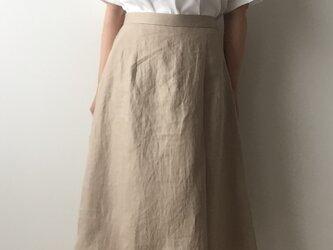 《受注製作》サイズと長さが選べるラップ風プリーツスカート リネンツィル キャメルの画像
