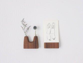 壁にくっつく木の花瓶【チーク】の画像