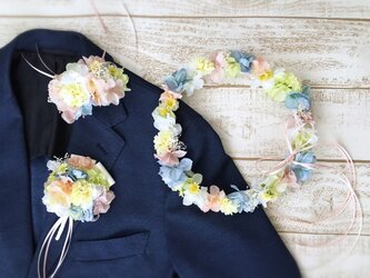 パステルカラーの花冠&リストレット&ブートニア3点セットの画像