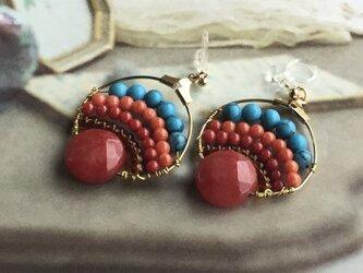 赤と青のエキゾチックピアス(イヤリング)の画像