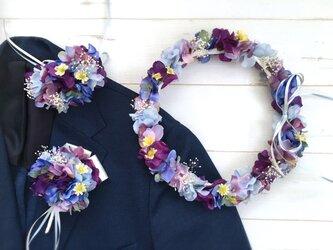 パープルブルーの花冠&リストブーケ&ブートニア3点セットの画像