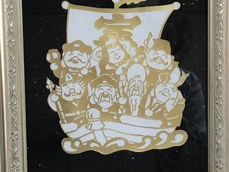 切り絵「七福神」ゴールドの画像