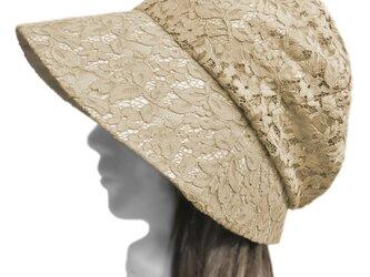 花柄ラッセルコードレース/セレブ帽子(ゆったり)◆ベージュ系の画像