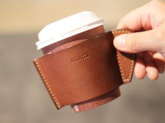 レザーカップスリーブ 茶 ブラウン カフェ タイム をお洒落に 全7色 栃木レザーの画像