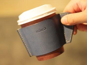 レザーカップスリーブ ブルー 青 カフェ タイム をお洒落に 全7色 栃木レザーの画像