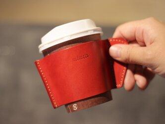 レザーカップスリーブ 赤 レッド カフェ タイム をお洒落に 全7色 栃木レザーの画像