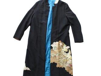 オートクチュール、ブラック(黒)シルクロングコート、着物リメイク MOMOZONO originalの画像