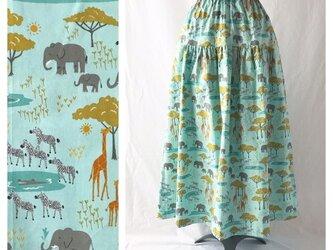 色と柄を楽しむティアードスカート(サファリ:ミントブルー)の画像