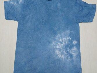藍染め絞りTシャツ メンズ Lサイズ 草木染め インド藍染め の画像