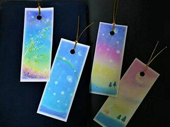 夜空の栞(しおり) パステルアートのブックマークの画像