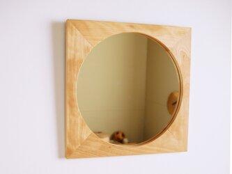 木製 鏡「四角に丸」樺(カバ)材1 ミラーの画像
