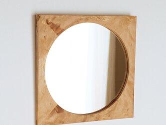 木製 鏡「四角に丸」樺(カバ)材2 ミラーの画像