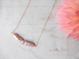 14kgf クラシックピンクのスティックパールネックレスの画像