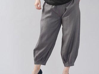 【wafu】やや薄地 リネン パンツ 裾タック リネンボトムス ヨガパンツにも/鈍色(にびいろ) b013a-nib1の画像