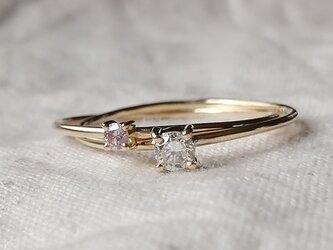 ホワイト&ピンクカラーダイヤモンド2連リングの画像