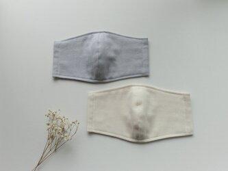 夏マスク 涼感ダブルガーゼ100%使用(ライトグレー、アイボリー、各850円)の画像