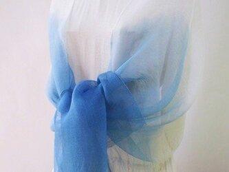 一年寝かせた・藍染め・シルク・大判・ロングストール・マーメイドの画像