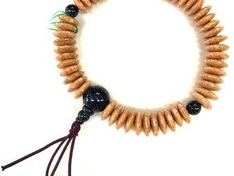 天竺菩提樹 そろばん玉 共仕立 腕輪 ブレスレット 数珠 天然石 京都  UDA124の画像