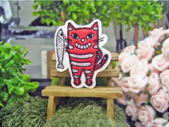 ★とったど-★お魚猫ヤロー★アップリケワッペン★赤白6-1枚の画像