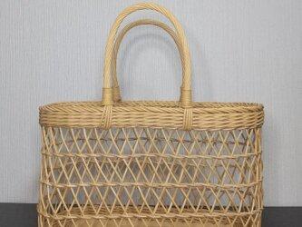 籐丸芯の透かし編みかごバッグの画像