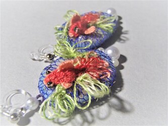 3D手刺繍イヤリング/ピアス風/金魚の画像