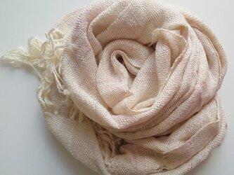 顔色が明るく見える♪手織りストール プチ大判 手染めシルクレーヨン の画像
