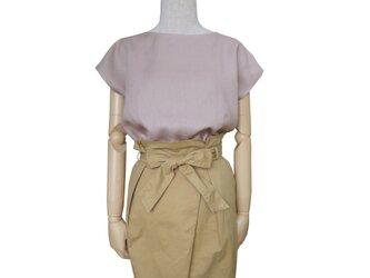 リネン100%シンプルフレンチ袖プルオーバー_smoky lavender pinkの画像