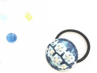 革の藍絞り染 hear accessary フラワー(M)の画像