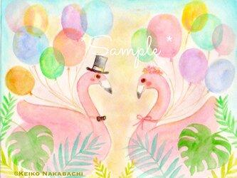 イラストポストカード(ペア フラミンゴ)の画像