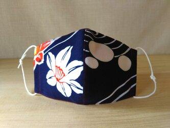 立体マスク[Lサイズ]*ゆかた紺地(K柄)×白の画像