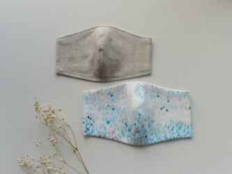 【お得な2枚セット】夏色マスク リネン(オートミール色)とダブルガーゼ(ブルー系)受注制作の画像