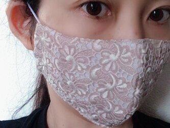限定2点のみ 夏マスク 小顔にみえるオトナきれいめマスク 花レース×シングルガーゼの画像