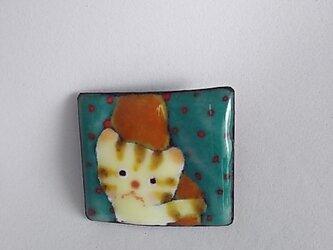 七宝 縞猫ブローチ カーテンからコンニチワの画像