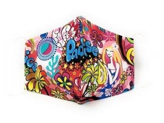 ハワイアン ファッション マスク(3D扇型) トロピックスパラダイス柄 ピンク Lサイズ[mfm3Q2-fb015Lの画像