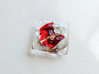 かき氷みたいなガラス帯留 赤の画像
