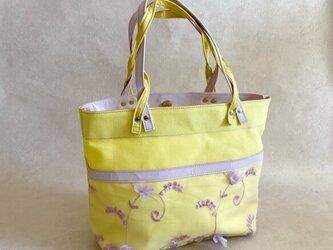 A4すっぽり トートバッグ 8号帆布 マカロン イエロー & チュール 花柄 ライト パープルの画像