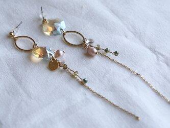 crystal and hoop earrings - type aの画像