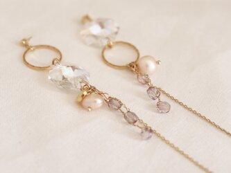 crystal and hoop earrings - type bの画像