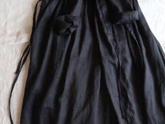 受注♡ブラックリネン♡きれいめカシュクールワンピース・美シルエット♡大人のレイアードスタイルの画像
