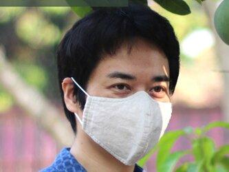 【夏用Lサイズ】リネン&コットン洗える マスク 布マスク Wガーゼ 大きめ 薄手 男性用の画像