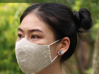 【 夏用 M サイズ 】 リネン & コットン 布マスク 呼吸がしやすい 立体マスク 洗える マスク Wガーゼ 薄手の画像