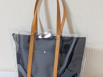 クリアトートバッグin帆布クラッチ(濃紺)の画像
