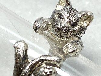 受注製作品 黒猫のリング シルバー925 燻加工の画像