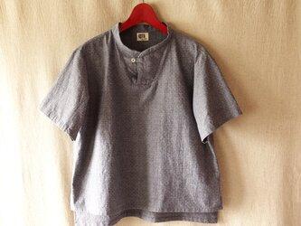 スタンドカラープルオーバー(灰紺綿)半袖の画像